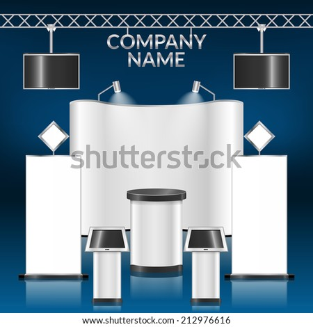 Exhibition advertising promotion stand blank layout template vector illustration - stock vector