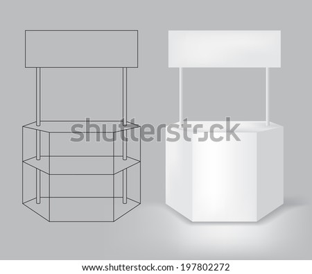 Exhibition desk blank space for your advertising, illustration vector template design. - stock vector