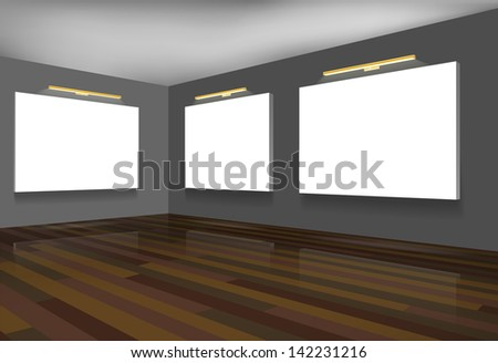 Exhibition hall with blank white canvases. - stock vector