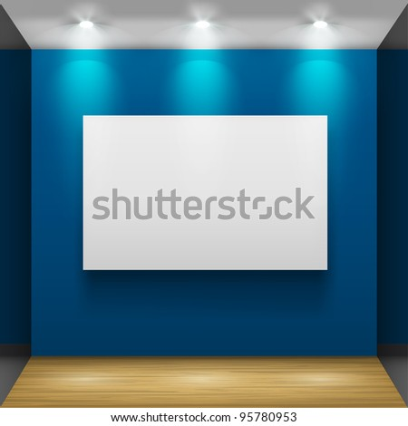Exhibition hall with wooden floor and the three frames on the wall, illuminated by floodlights. Part of set. Vector interiors. - stock vector