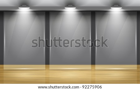 Exhibition hall with wooden floor and the three glass frame in middle of the room, illuminated by searchlights. Part of set. Vector interiors. - stock vector