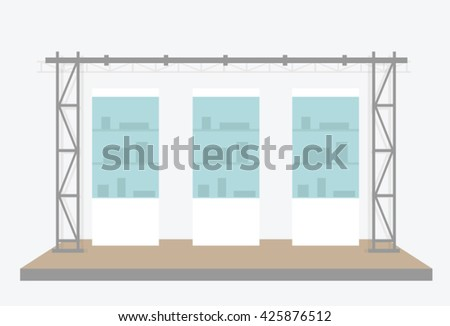 Exhibition scene. Vector illustration