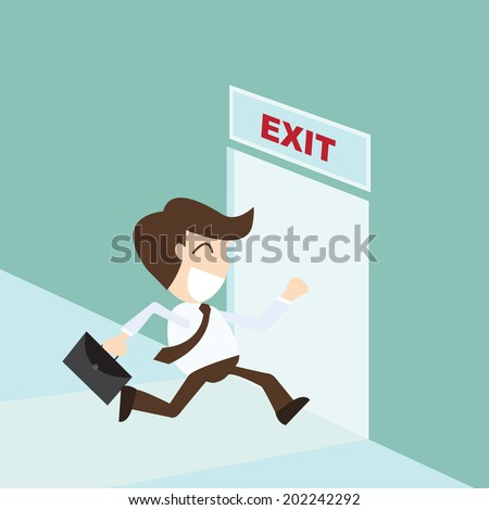 Exit - Businessman running exit door sign , emergency - stock vector