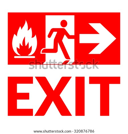 Exit sign. Emergency fire exit door and exit door. Green icon on white background. Safe condition symbol. Label with human figure and arrow. Vector illustration - stock vector
