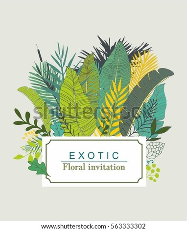 Exotic tropical leaves invitation design vector stock vector exotic and tropical leaves invitation design vector stopboris Images