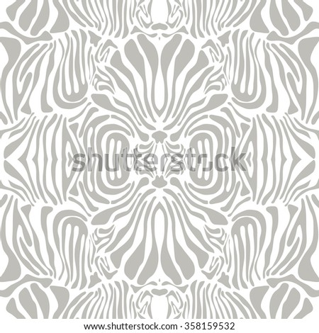 Exotic Art Deco pattern with zebra motif and optical illusion effect. Safari textile collection. Grey and white. Backgrounds & textures shop. - stock vector