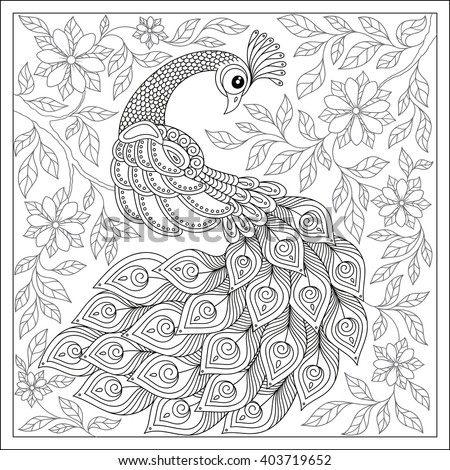 exotic birdfantastic flowers leaves vintage hand drawn pattern black and white doodle - Peacock Coloring Book
