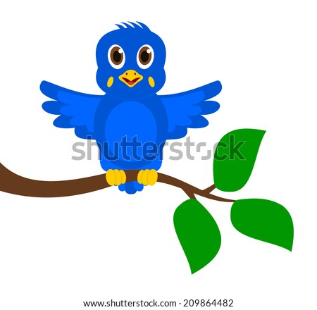 exotic blue bird on a branch - stock vector