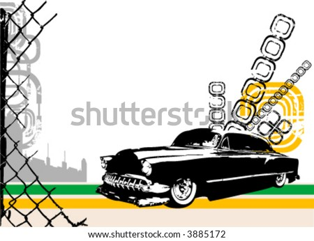 exotic car and city vector - stock vector