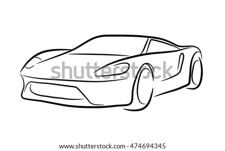 exotic car outline hand drawn vector stock vector 474694345 rh shutterstock com car outline vector free vintage car outline vector