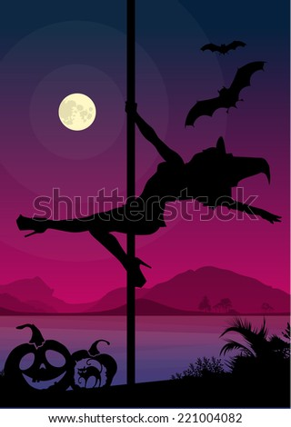 Exotic dancer dancing pole dance in front of river and full moon at night Halloween Style - stock vector