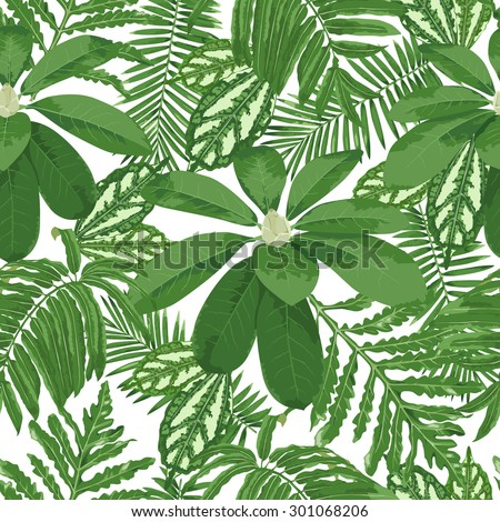 Exotic flora, dense jungle. Seamless detailed, botanical pattern. Vector background. - stock vector