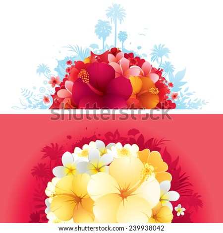 Exotic floral summer banners. Each on its separate layer. Great for header or footer usage. - stock vector