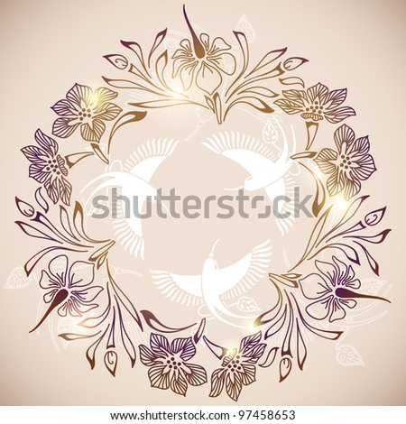 exotic flowers and hummingbirds circle frame, eps10 - stock vector