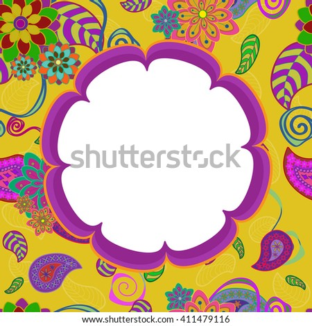 Exotic flowers frame. Flower shape frame on yellow background with colorful exotic flowers. Use: greeting card, invitation, post card, save date, banner, flyer, message frame, decorative border
