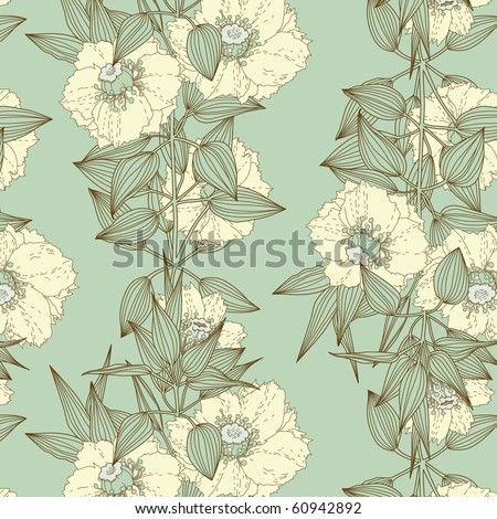 Exotic flowers seamless pattern - stock vector
