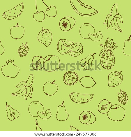 Exotic fruit mixed seamless pattern