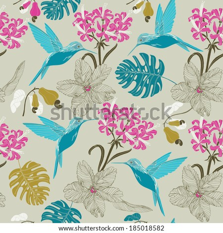 exotic hummingbird and tropical flowers - stock vector