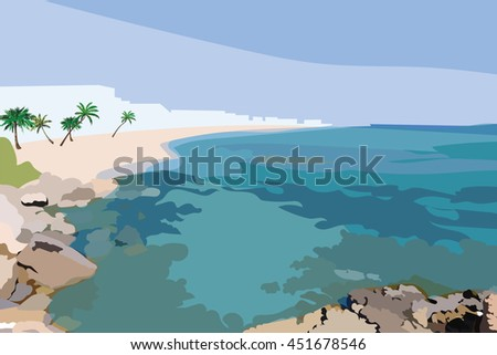 Exotic Island Paradise Beach. Summer Beach Tropics with Palm trees and flowers. Vector background card - stock vector