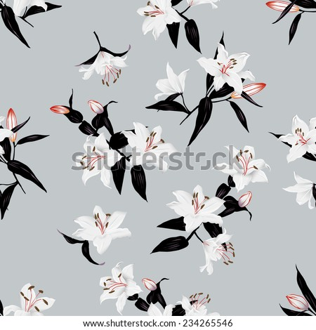 Exotic lilies grey seamless vector print - stock vector