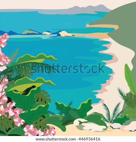 Exotic Paradise Beach. Summer Beach Tropics with Palm trees and flowers. Vector background card - stock vector