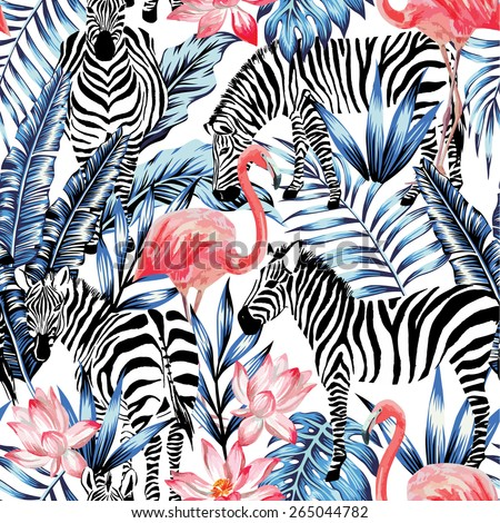 Exotic pink flamingo, zebra on background summer blue tropic palm leaf. Watercolor floral print wallpaper. Jungle Safari Hawaii backdrop. Seamless vector pattern. Stripe fashion nature painting - stock vector