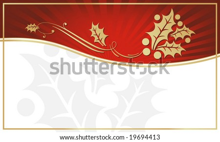 Exotic Red Holly Adorned Gift Tag with Room for your own text. You may also like my color variations on this design. - stock vector