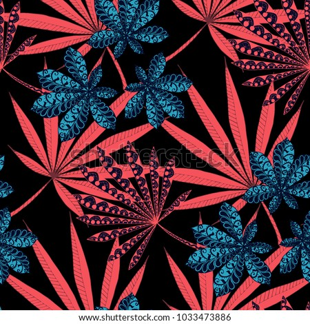Exotic Seamless Pattern With Leaves of Palm Trees On Black Background. Hand Drawn Rainforest Texture In Zentangle Style. Ornate Seamless Background for Print, Interior, Wallpaper, Swimwear.