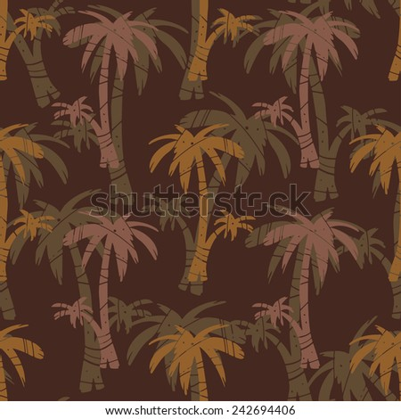Exotic seamless pattern with silhouettes tropical coconut palm trees. Forest, jungle. Abstract natural hand drawn background texture. Cloth art design, wallpaper