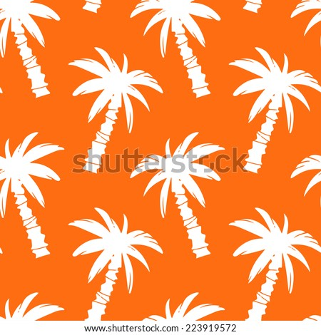 Exotic seamless pattern with silhouettes tropical coconut palm trees in orange and white. Forest, jungle repeating background. Abstract print texture. Cloth design. Wallpaper - stock vector