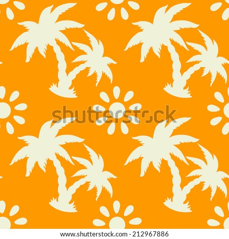 Exotic seamless pattern with silhouettes tropical coconut palm trees, sun, hammock. Hawaiian, caribbean  print.  Endless repeating background texture. Wallpaper - vector  - stock vector