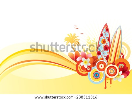 Exotic summer banner with surf boards and some funky elements.  - stock vector