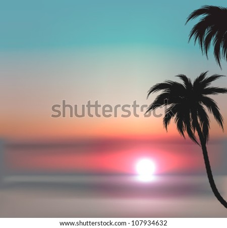 Exotic sunset vector background with sea and palm trees. EPS10 - stock vector