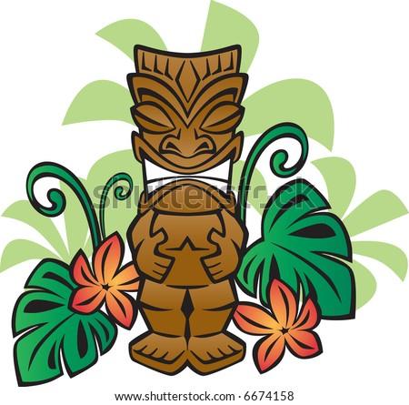 Exotic Tiki God - stock vector
