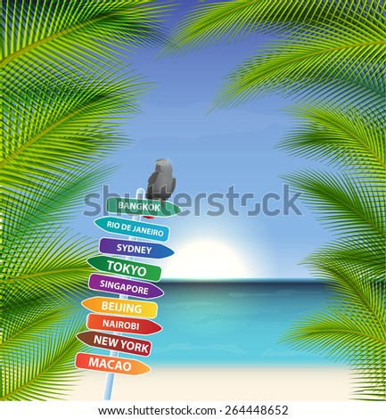 Exotic trip with palms trees and parrot. Eps10 background - stock vector
