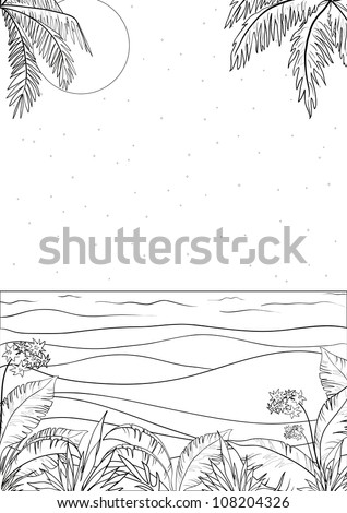 Exotic tropical ocean landscape with moon night sky, palm trees leaves and flowers, black contour on white background. Vector illustration - stock vector