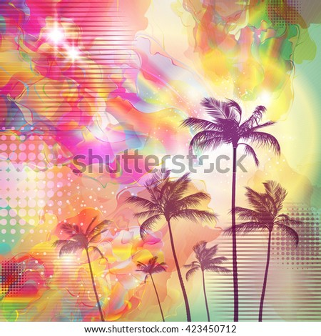 Exotic tropical palm trees  with fantasy sunset background . Highly detailed  and editable - stock vector