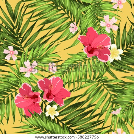 Exotic tropical rain forest jungle palm leaves and bright floral camouflage seamless pattern on yellow background. Hibiscus, plumeria and hypsophila botanical flowers. Vector design illustration.