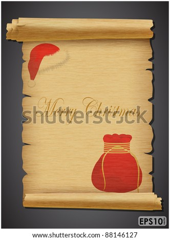 Expand torn sheet of parchment with red cap and bag on a dark background - stock vector