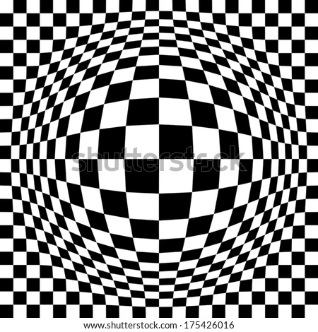 Expanded Optical Check  Abstract checkerboard pattern in black and white will repeat seamlessly. - stock vector