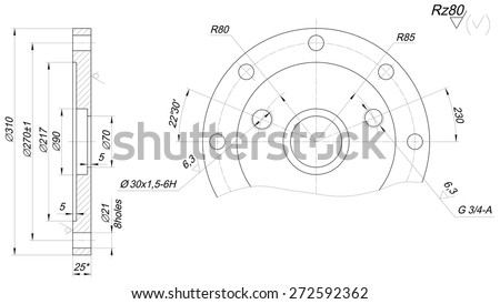Expanded sketch of bearing with angle degree and hatching. Engineering drawing with lines, angle degrees. Vector image - stock vector