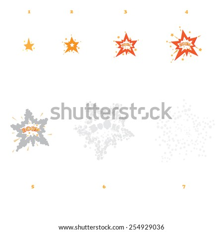 Explode effect animation. For game animation or design. Boom illustration. Cartoon explosions on Isolated background. Storyboard of fireball - stock vector