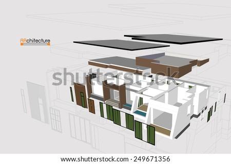 Explode home on white background,vector - stock vector