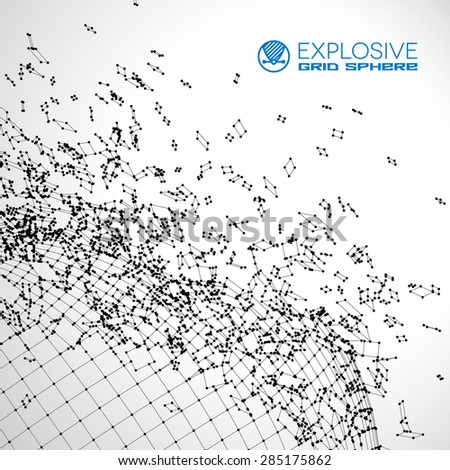 Exploded grid made of connected dots with black wires - stock vector