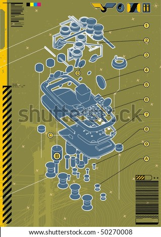 Exploded technical diagram abstract of a mobile phone. - stock vector