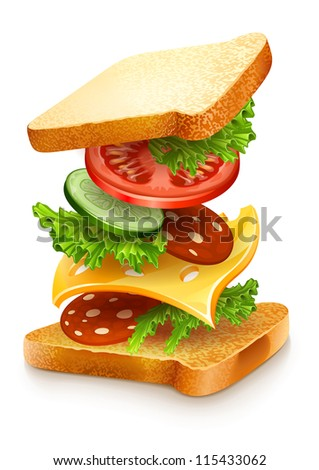 exploded view of sandwich ingredients with cheese, tomatoes, lettuce and sausage. Vector illustration isolated on white background EPS10. - stock vector
