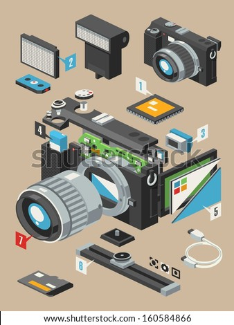 exploding camera,vector insides of a camera - stock vector