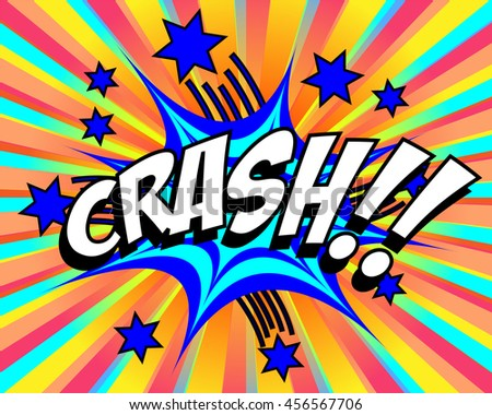 Exploding cartoon crash text caption vector illustration