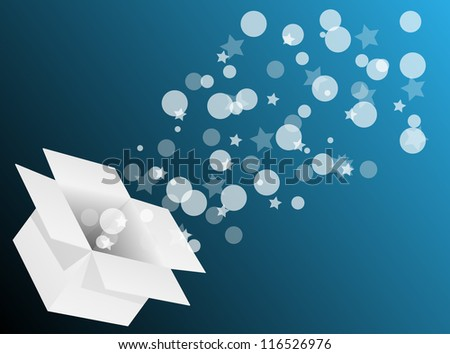 Exploding gift box - Abstract illustration full of colors - stock vector