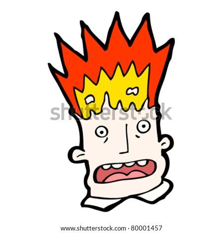 exploding head cartoon - stock vector